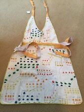 NWT Anthropologie Dots Apron Pockets Multi Color Gold Yellow Orange Blue Ticking