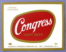 Haberle Congress Brewing Co CONGRESS LIGHT BEER label NY 7oz
