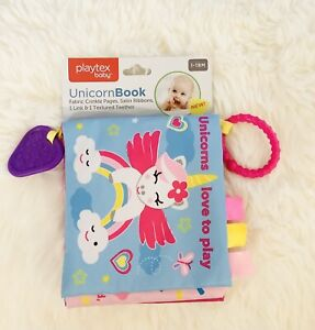 Playtex Baby Unicorn Crinkle Book Fabric Crinkle Pages Teething Toddler Toy