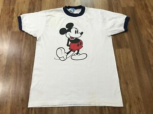 MEDIUM Vtg 80s Walt Disney Mickey Mouse Single Stitch Ringer Cotton T-shirt USA
