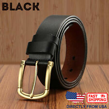 Men's Gold Color Classic Metal Buckle Handcrafted Cowhide Leather Jean Belt