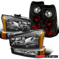 For 03-06 Silverado Black Headlights+Bumper+Black Tail Brake Light
