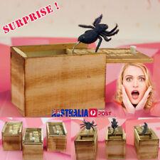 Wooden Prank Spider Scare Box Hidden in Case Trick Play Joke Horror Gag Toys GB