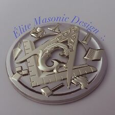 New Masonic Master Mason Cut out Car  Emblem Two Tone Chrome. EMG