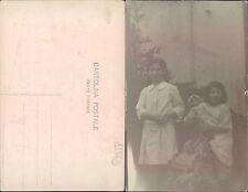 CARTOLINA POSTALE - RITRATTO DI BAMBINE CON BAMBOLA     - (rif.fg.11873)