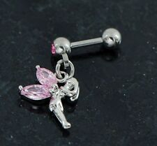 """1 Pink C.Z fairy lady dangle surgical steel tragus/ cartilage Piercing 16g 1/4"""""""