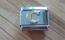 Italian Charms - Gold Letters Letter C Fits Classic Size Italian Charm Bracelet