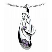 New Celtic Art Nouveau Amethyst set Silver Pendant Necklace Celtic Jewellery