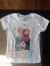 Disney Frozen Girls T Shirt Size Medium M Or Size 5 Olaf Anna Elsa BFF Brand New