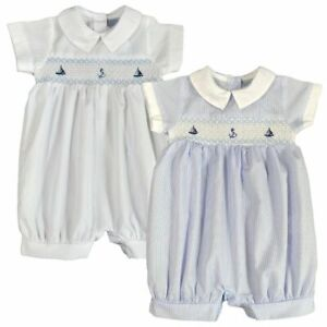 Baby Boy Spanish Style Romper Suit Smocked Nautical