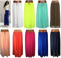 L127 Ladies Women Girls Designer Chiffon Skirt Long Skirt Belted Waist Maxi