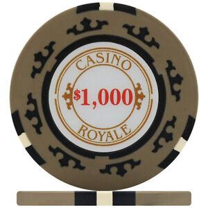 Crown Casino Royale 14g Poker Chips - Beige $1,000 (Roll of 25)