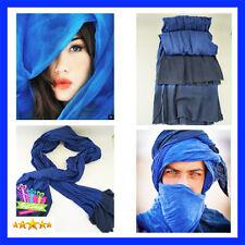 Sahara Long Handmade Tuareg Moroccan Scarf Blue Unisex Turban Ethnic Culture