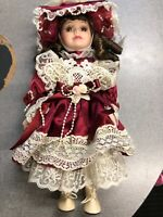 porcelain hand made doll glass eyes Red 13 inches New Unique
