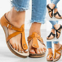 Womens Sandals Ankle Strap Platform Summer Beach Shoes Slippers Mules Flip Flops