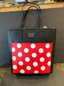 Disney & Loungefly Minnie Mouse X- Large Tote Bag Black w/ polka dots New !!