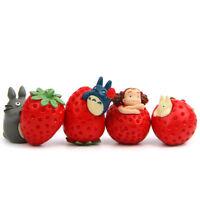 4pcs Studio Ghibli My Neighbor Totoro Strawberry Mini Figures Doll Statue 3-4cm