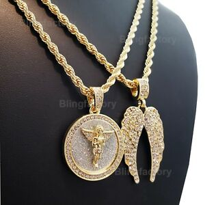 """Hip Hop Iced Baby Angel & Wings Pendant w/ 4mm 24"""" Rope Chain 2 Necklace set"""