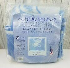 "Avon Heavenly Comfort Bedtime Prayer Throw Blanket 60"" x 50"" Blue Made in USA"