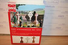 Busch 1096, 3 Steinkreuze,neu,OVP, Park, Friedhof, Grab, Gruft, Kreuz