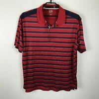 Adidas Golf Striped Polo Shirt Red Blue Short Sleeves ClimaCool Sz XL Budweiser