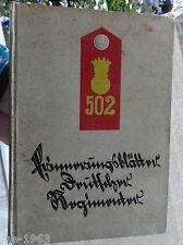 Buch  Regimentsgeschichte   FAR 502  Stalling Verlag 1928