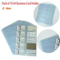 10 Holders one sheet A4 Business Card Holder Wallet Pouch Organiser Folder