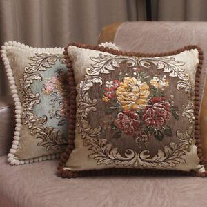 NEW Luxury Chenille Cushion Cover Jacquard European Sofa Decor Pillow Covers