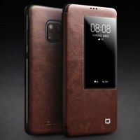 Qialino Genuine Leather Smart View Window Flip Case Cover for Huawei Mate 20 Pro