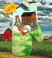 New Home Collection Kitchen Red Farm House & Rooster Oven Mitt Glove 7 x 13