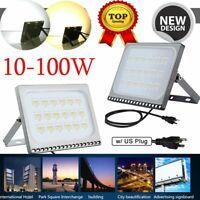 LED Flood Light 100W 50W 30W 20W 10W Outdoor Lamp Security Spotlight w/US Plug