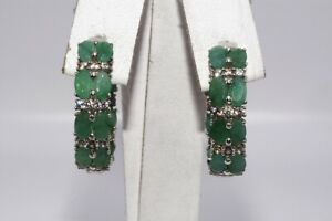 """6.10CT NATURAL GREEN EMERALD & WHITE TOPAZ """"IN & OUT"""" HOOP EARRINGS SILVER"""