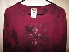 VOCAL Celtic Cross Feathers Junior's Maroon tie dye Studded Shirt XL