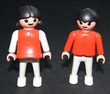 Vintage Playmobil Child Figures Girl Boy Children Red Shirts Black Hair