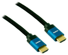 0.5m 50cm Ultra High Speed 8K Braided v2.1 HDMI Cable - Blue Connectors - BLACK