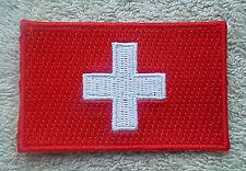 SWITZERLAND FLAG PATCH Embroidered Badge Iron Sew on 4.5cm x 6cm Suisse Schweiz