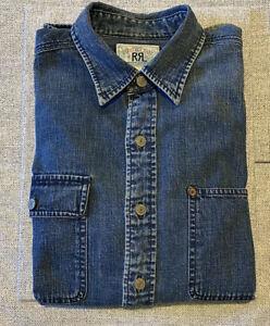 Vintage Rare RRL Double RL Ralph Lauren French Denim Jean Button Down Shirt Sz M