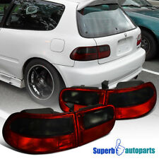 For 1992-1995 Honda Civic 3dr Hatchback JDM Tail Lights Brake Lamps Red/ Smoke