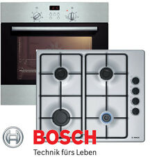 Gasherd Set Bosch Elektro Backofen Umluft + GAS Kochfeld Edelstahl Stahlplatte