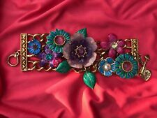 Betsey Johnson Vintage Secret Garden Ladybug Teal Purple Lucite Flower Bracelet