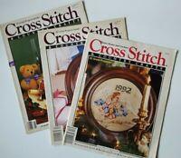 Vintage Cross Stitch & Country Crafts Magazine Lot of 3 Nov/Dec 87 & 89, Dec 92