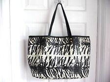 L.A.M.B. Tote Shopper Coated Canvas Leather Straps Newspaper Zebra Patterned WoW