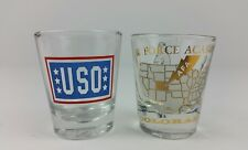 Lot of 2 Shot Glasses Air Force Academy Colorado and USO Shot Glass Military USA