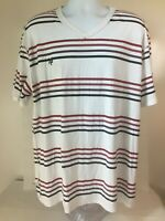 Young Men's Zoo York White Striped Short Sleeve V-Neck T-Shirt Top XXL