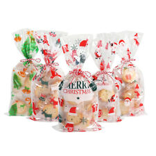 50pcs Plastic Christmas Candy Cookie Bags Wrapping Pouch Cellophane Party Gift