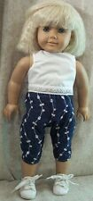 """Doll Clothes Made 2 Fit American Girl 18"""" in White Blouse Denim Capris Set 2pc"""