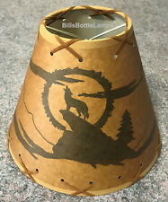 """Rustic """"Bulb Clip"""" Wolf Coyote Table Desk Light Lamp Shade Cottage Cabin Decor"""