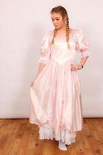 80S VINTAGE BRIDESMAID DRESS pink satin & lace bo peep bridesmaid hen do amdram