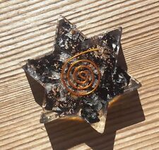 BLACK TOURMALINE ORGONE GEMSTONE STAR CHARGING PLATE ORGONITE