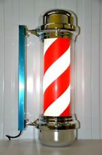 Barber Pole Heavy duty Rotating Salon Sign Full Led Red&Blue Illuminated Outdoor